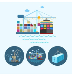 Set icons with containers and crane vector image