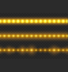 set of led glowing light stripes vector image