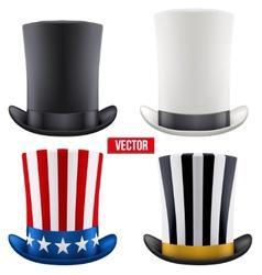 Set of tall gentleman hat cylinder vector image