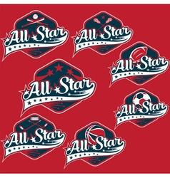 Set vintage sports all star crests vector