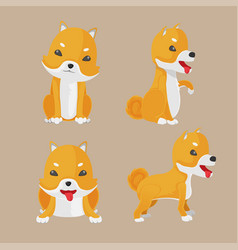 Shiba inu dog cartoon set vector