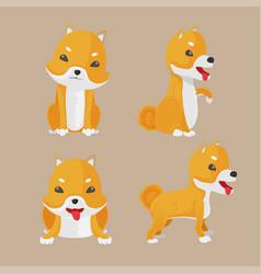 shiba inu dog cartoon set vector image