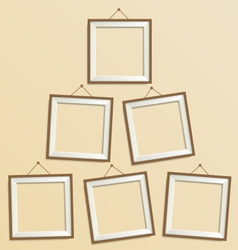 Six blank wooden modern frame isolated on beige vector