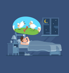 Sleepless man in bed trying to fall asleep vector