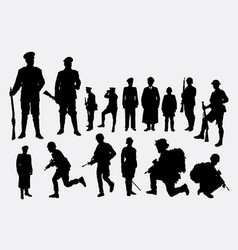 Soldier army and police silhouette vector