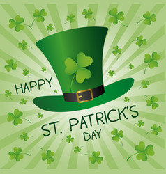 st patricks day design of green hat and clover vector image