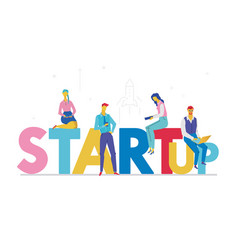 startup - flat design style colorful vector image
