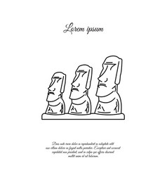 Statues moai on easter island line icon vector
