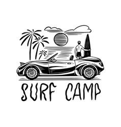 surf camp badge vintage surfer logo retro car vector image