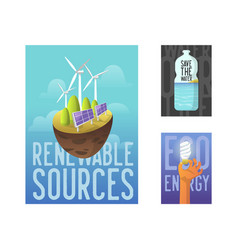 sustainable energy sources green technology vector image