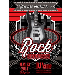 Template for a rock concert with guitar vector
