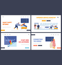 tourists in airport website landing page set vector image