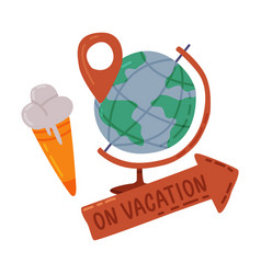 travel or vacation objects set globe vector image