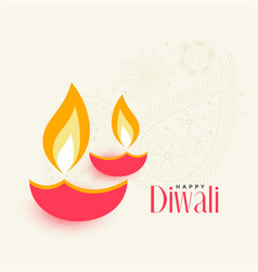 Two diwali diya on white background vector