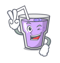 two finger berry smoothie character cartoon vector image