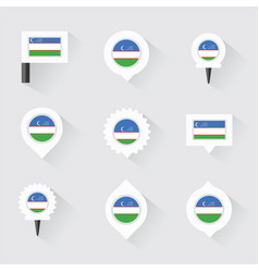 uzbekistan flag and pins for infographic and map vector image