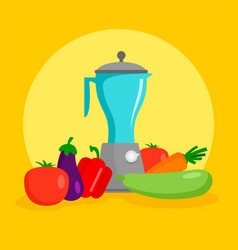 vegetables mixer concept background flat style vector image