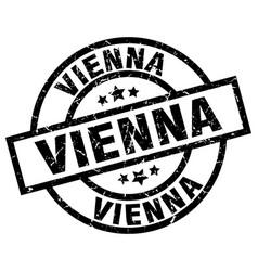 Vienna black round grunge stamp vector