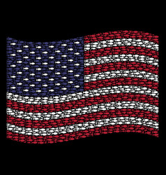 waving united states flag stylization of fish vector image