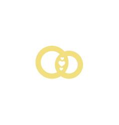 wedding logogold ringsstylized vector image