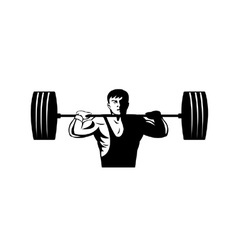 Weightlifter Lifting Weights Retro vector image