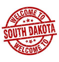 welcome to south dakota red stamp vector image