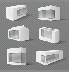White product packaging boxes gift packages with vector