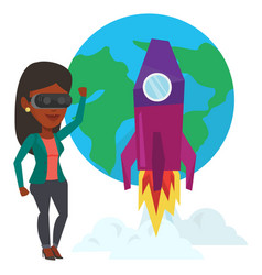 Woman in vr headset flying in open space vector