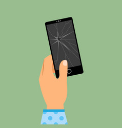 Womans hand holding broken smartphone vector