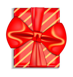 xmas red gift box icon realistic style vector image