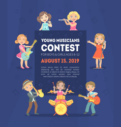 Young musicians contest banner template with space vector