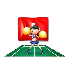 A cheerleader dancing in front of the Switzerland vector image vector image