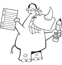 Cartoon rhino student vector
