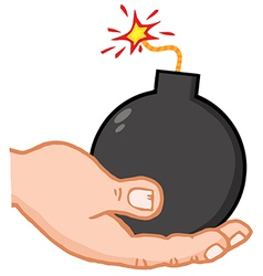 Hand Holding Bomb vector image vector image