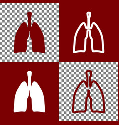 human anatomy lungs sign bordo and white vector image