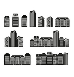Isolated black and white color skyscrapers and low vector