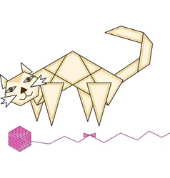 Paper cat and yarn ball vector image