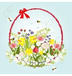 Spring Floral Blossom Love Vintage Cartoon Bee vector image vector image