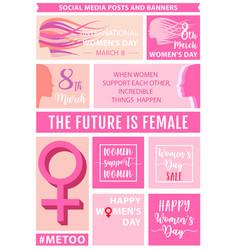 womens day social media posts set vector image vector image