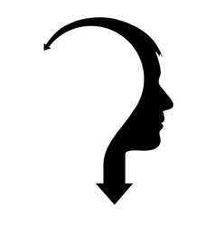 Abstract male head with arrow vector image