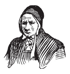 Elderly woman with a sad expression vintage vector
