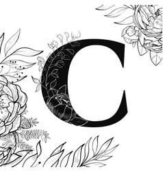 flower alphabet letter c pattern vector image