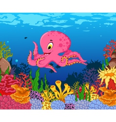 funny octopus cartoon with beauty sea life backgro vector image
