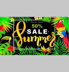 summer sale horizontal banner with parrot and vector image