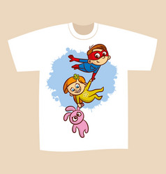 T-shirt print design superhero flying boy rescuer vector