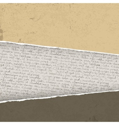 vintage torn background with handwritings vector image vector image