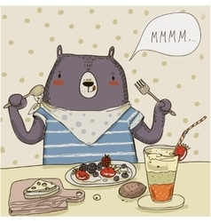 cute cartoon bear with food vector image vector image