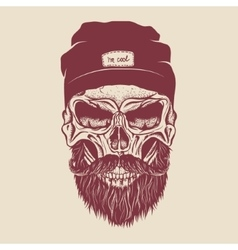 Hipster skull with hairstyle mustache and beard vector image