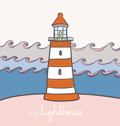 ShipLighthouse13 vector image vector image