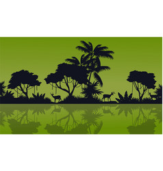 Silhouette of forest reflection on the lake vector